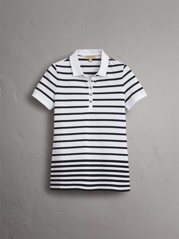 Striped Stretch Cotton Piqué Polo Shirt in White/navy - Women | Burberry - cell image 3