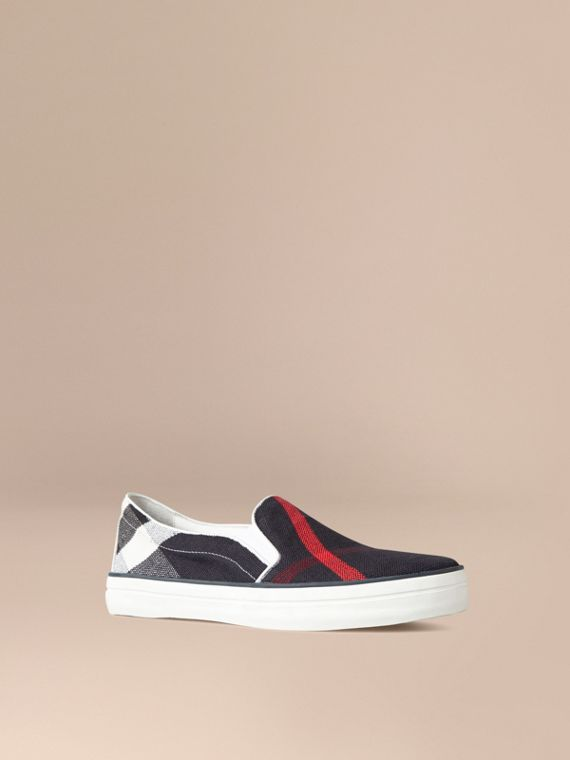 Sneakers check navy senza lacci