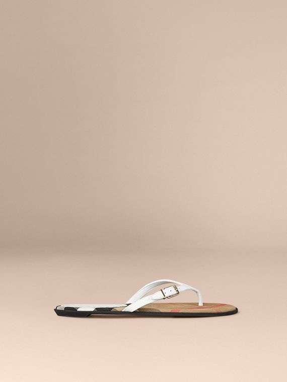 House Check and Leather Sandals in Optic White