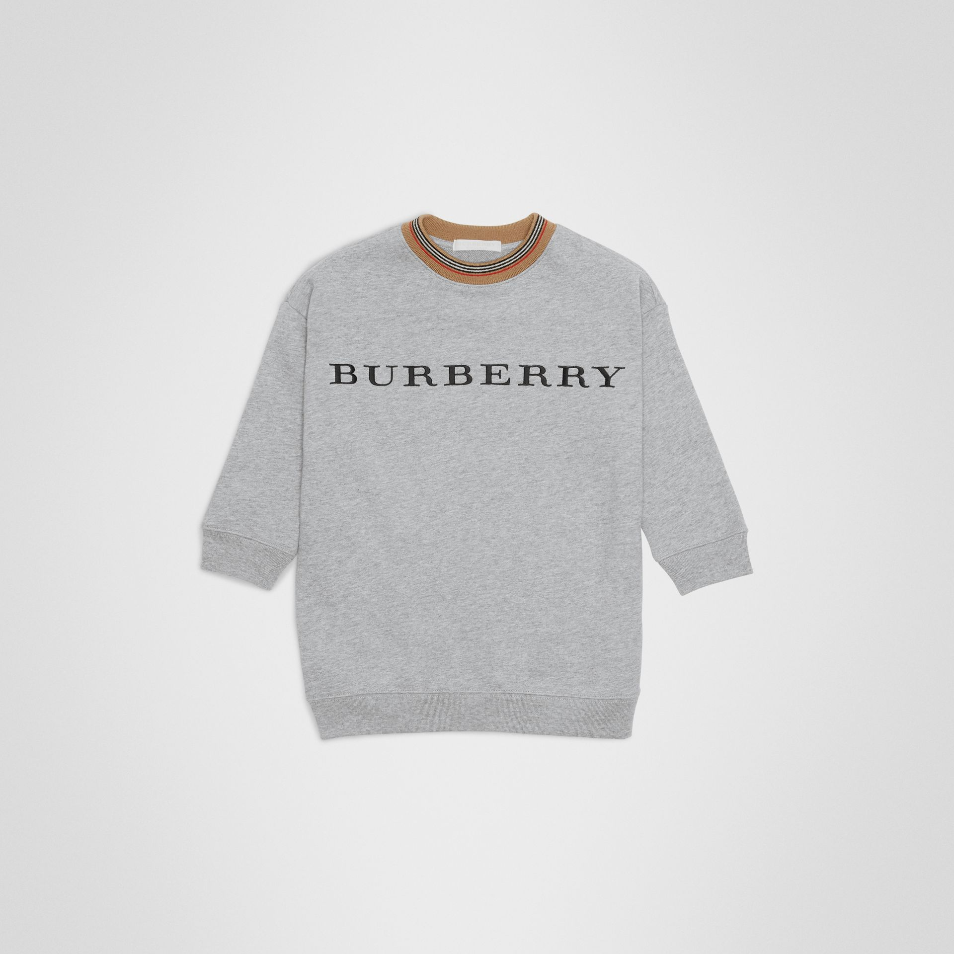Embroidered Logo Cotton Dress in Grey Melange | Burberry - gallery image 0