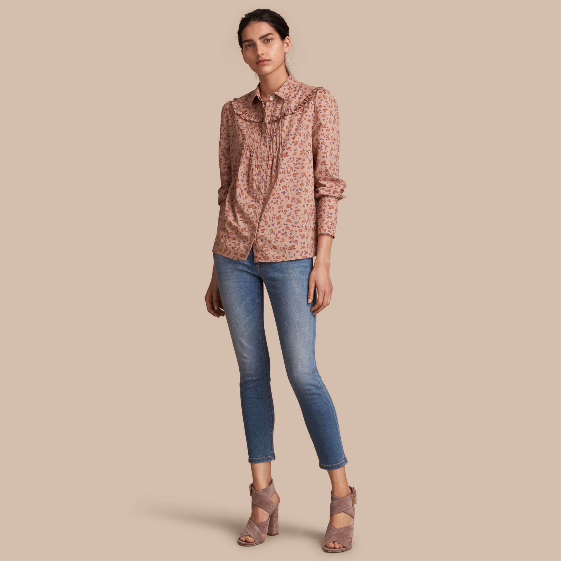 Ruffle Yoke Floral Print Cotton Shirt in Light Copper - Women | Burberry - gallery image 1
