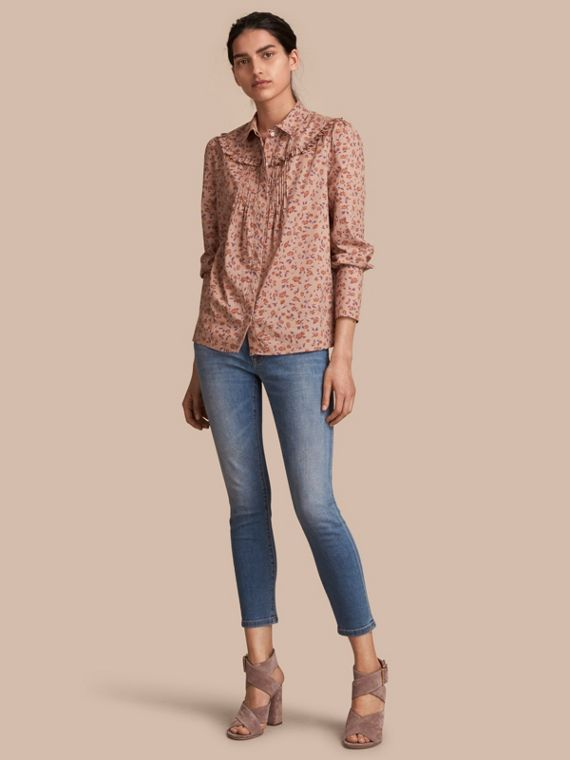 Ruffle Yoke Floral Print Cotton Shirt Light Copper