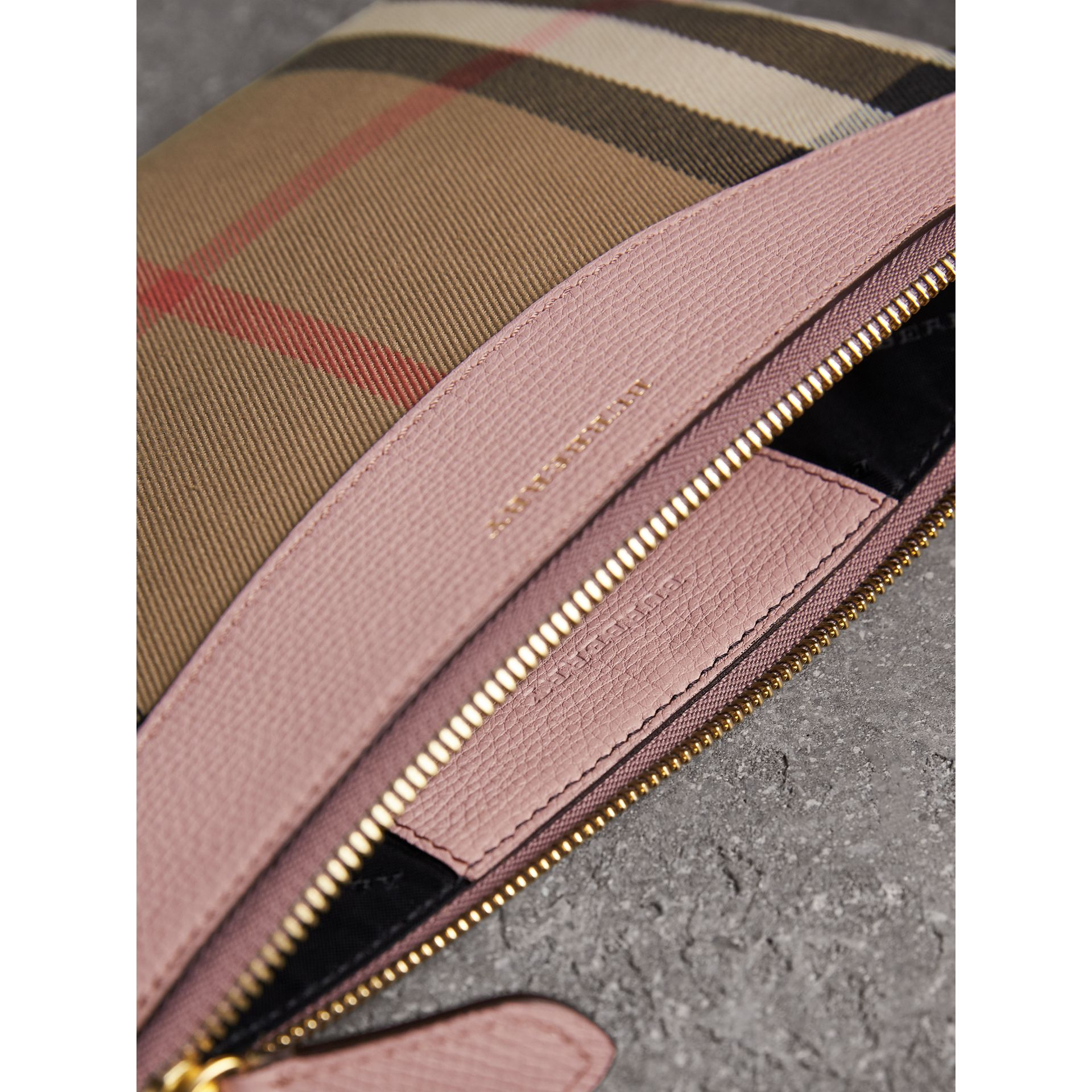 House Check and Leather Clutch Bag in Pale Orchid - Women | Burberry Singapore - gallery image 5