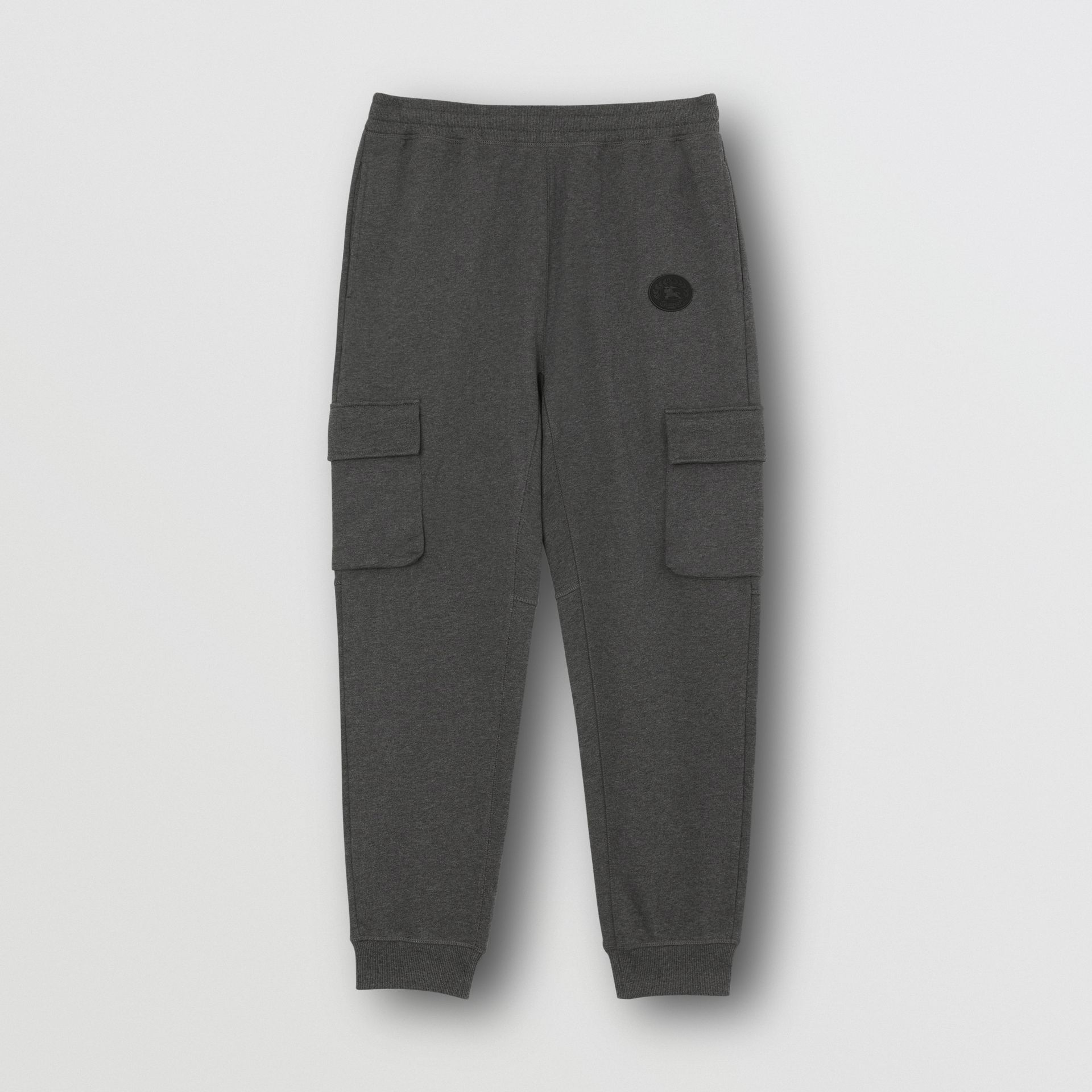 Pocket Detail Cotton Jersey Trackpants in Mid Grey Melange - Men | Burberry - gallery image 3