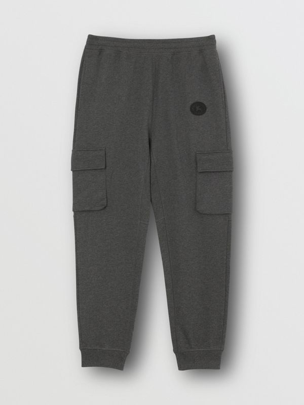 Pocket Detail Cotton Jersey Trackpants in Mid Grey Melange - Men | Burberry Canada - cell image 3