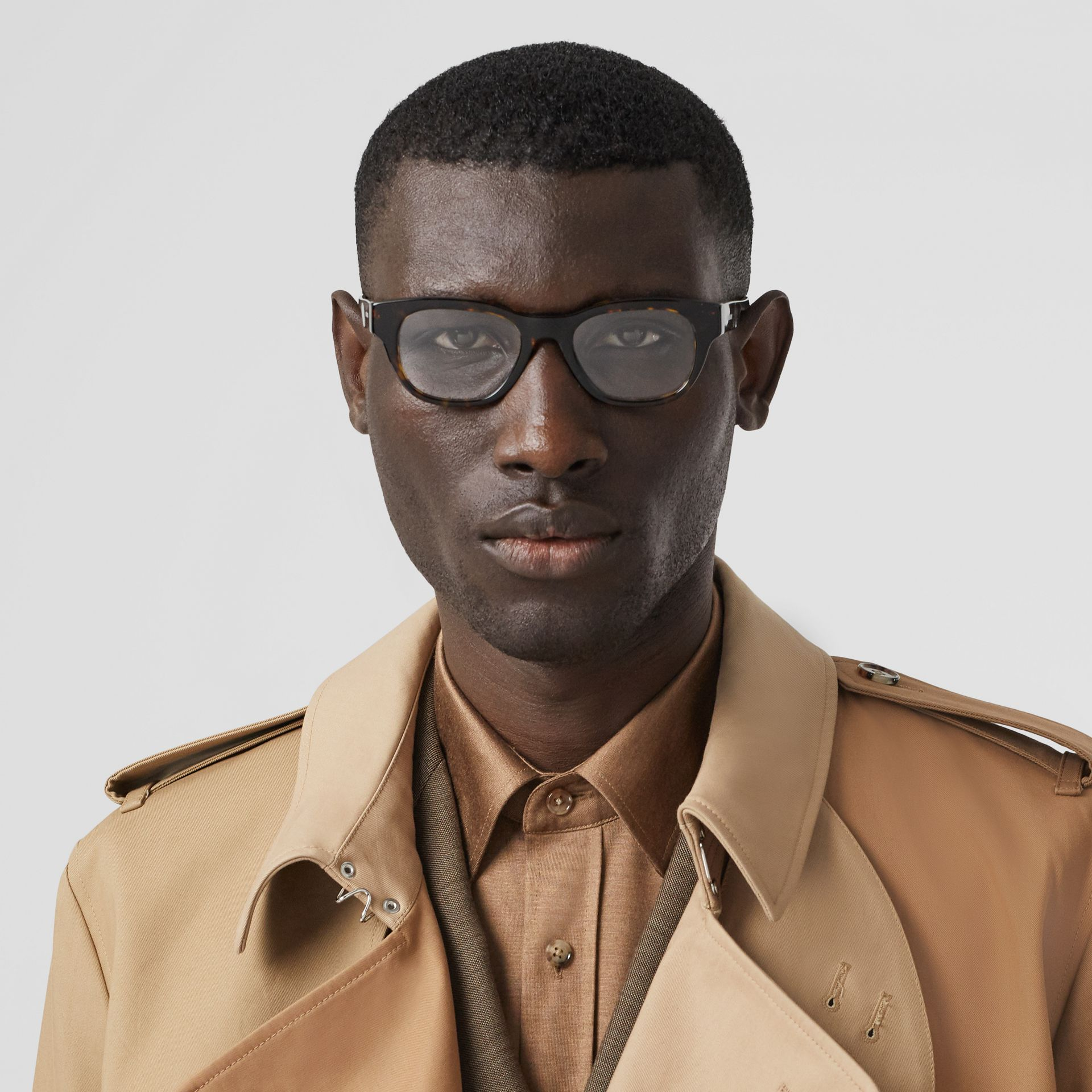 Square Optical Frames in Tortoiseshell - Men | Burberry Australia - gallery image 2