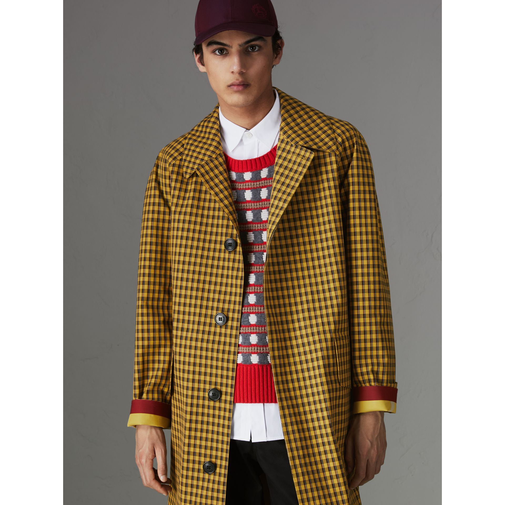 Shrunken Check Bonded Cotton Car Coat in Saffron Yellow - Men | Burberry - gallery image 4