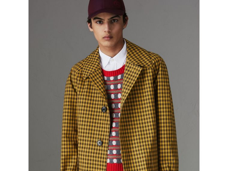 Shrunken Check Bonded Cotton Car Coat in Saffron Yellow - Men | Burberry United Kingdom - cell image 4