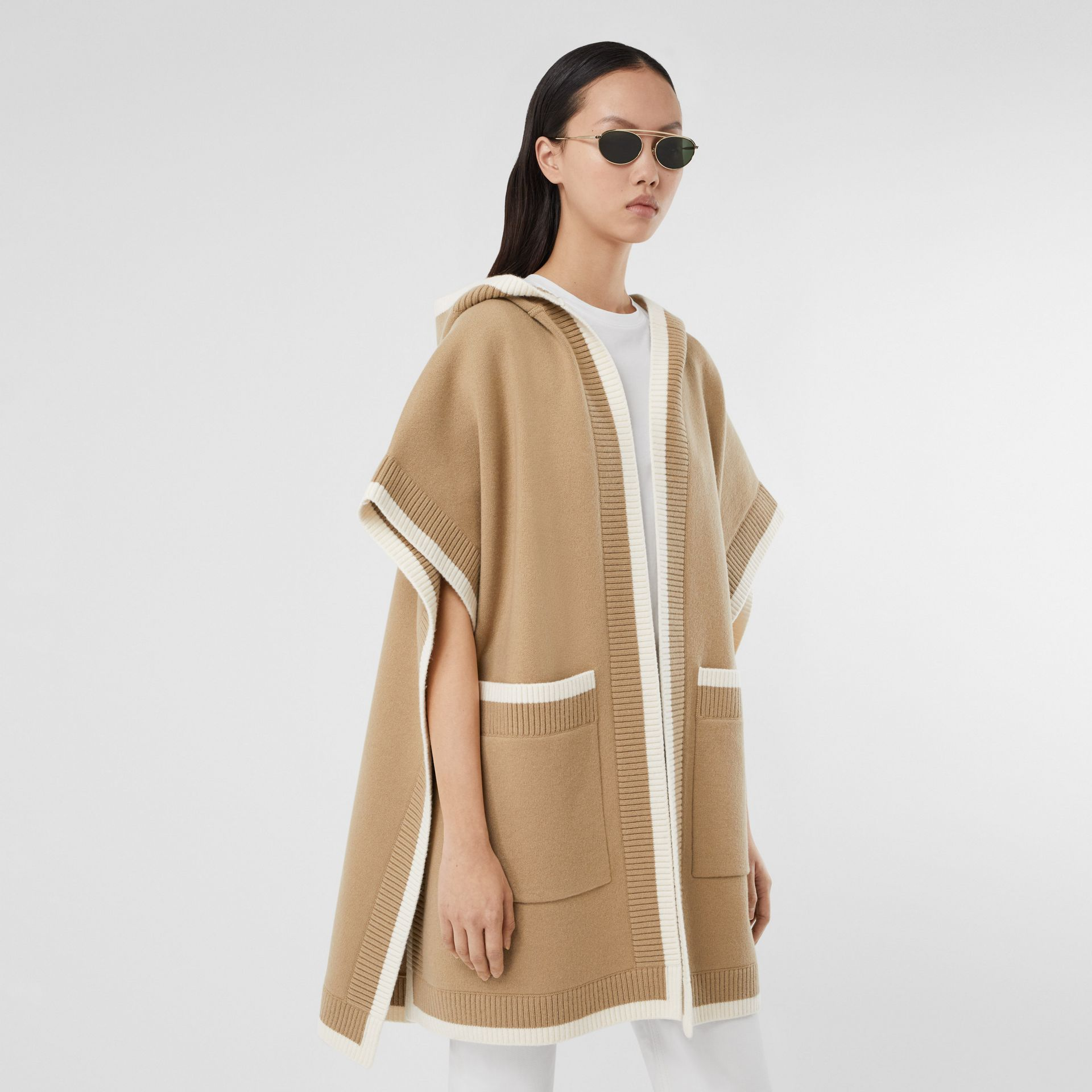 Logo Graphic Wool Cashmere Jacquard Hooded Cape in Archive Beige - Women | Burberry United Kingdom - gallery image 2