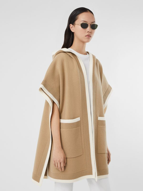 Logo Graphic Wool Cashmere Jacquard Hooded Cape in Archive Beige - Women | Burberry United Kingdom - cell image 2