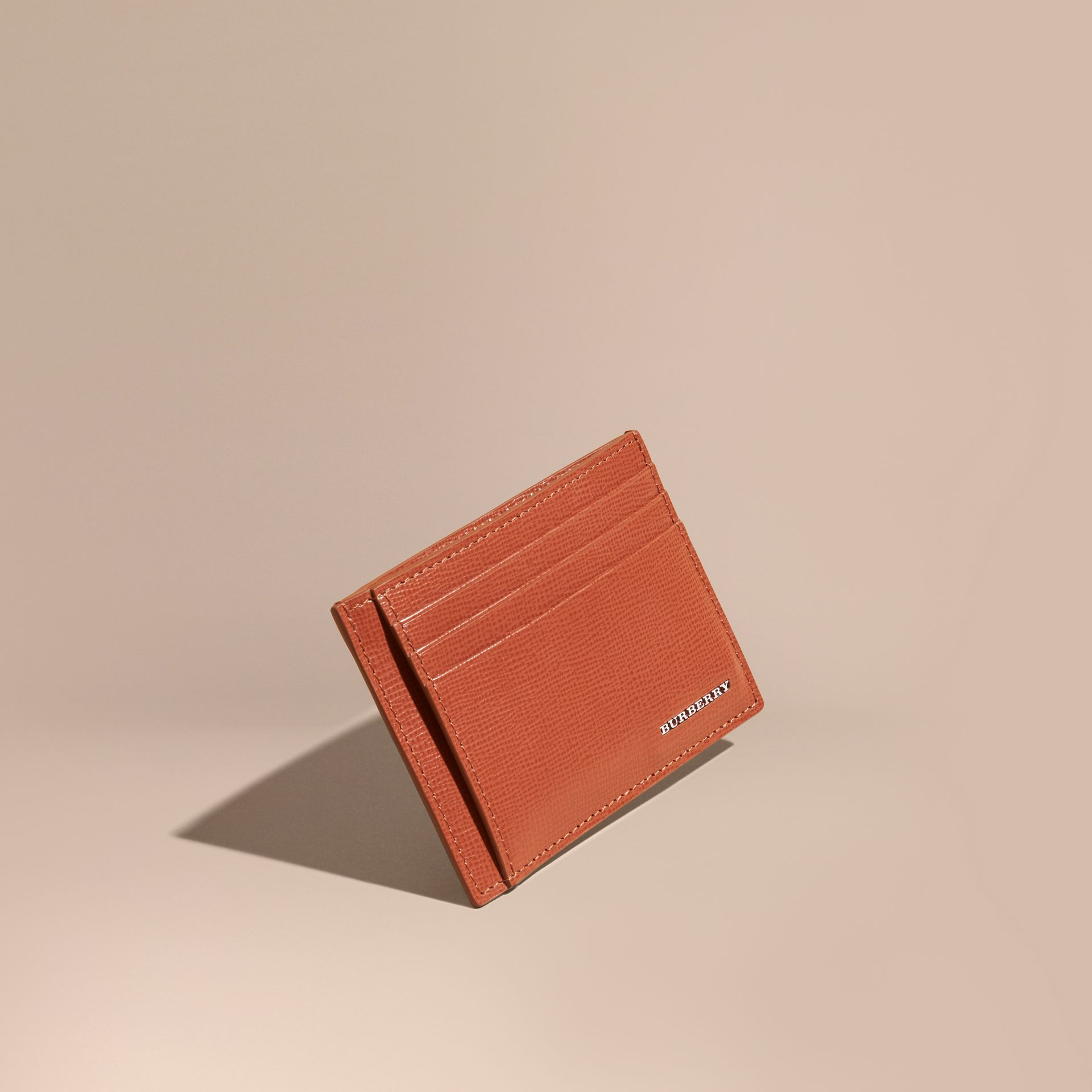 London Leather Money Clip Card Case in Burnt Sienna - gallery image 1