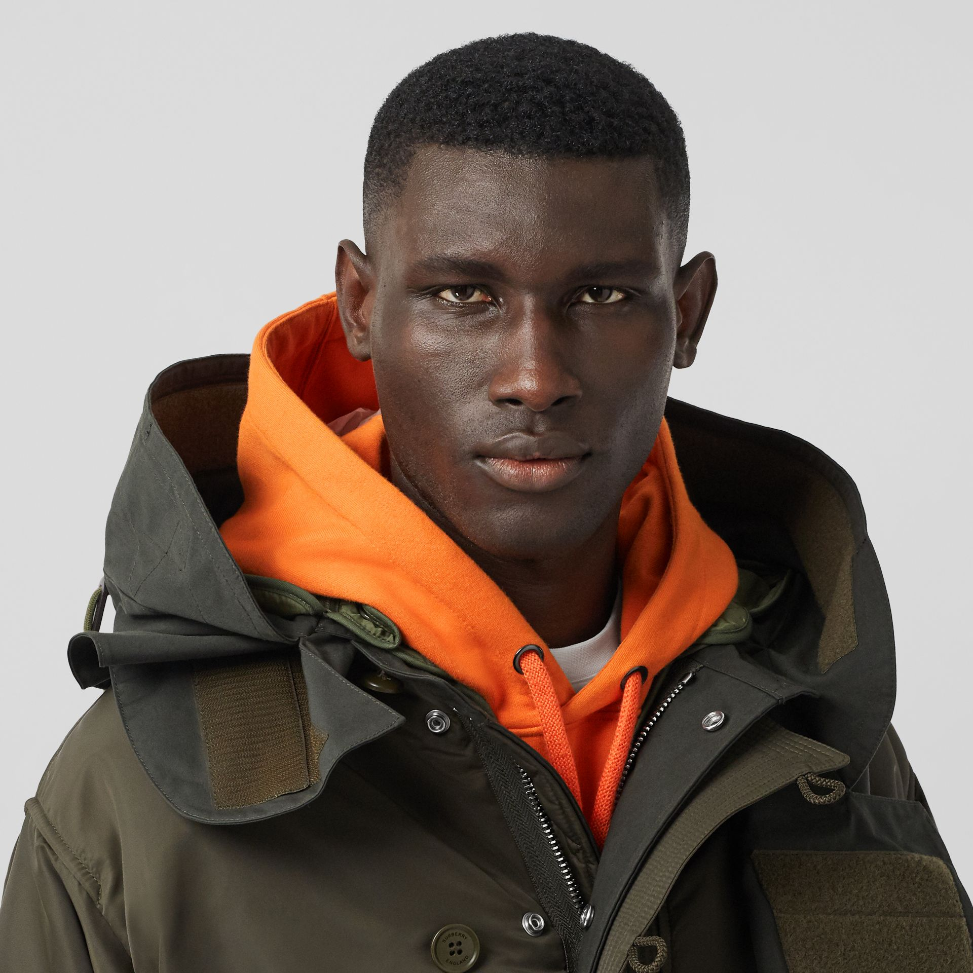 Nylon Hooded Parka with Detachable Warmer in Olive - Men | Burberry Singapore - gallery image 1