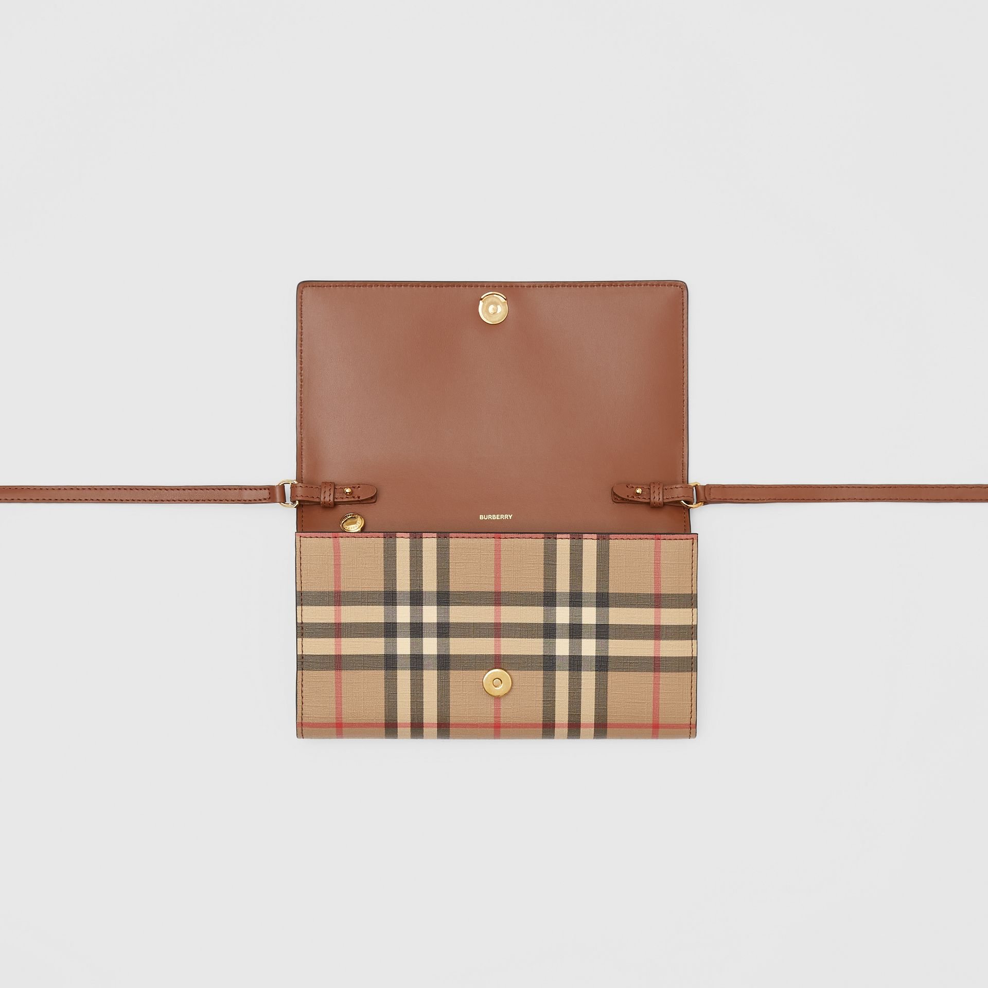 Vintage Check E-canvas Wallet with Detachable Strap in Malt Brown - Women | Burberry - gallery image 8