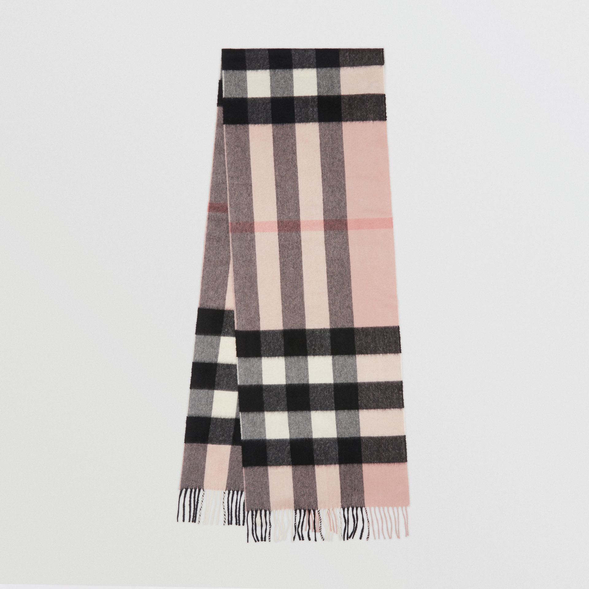 The Large Classic Cashmere Scarf in Check in Ash Rose | Burberry United Kingdom - gallery image 0