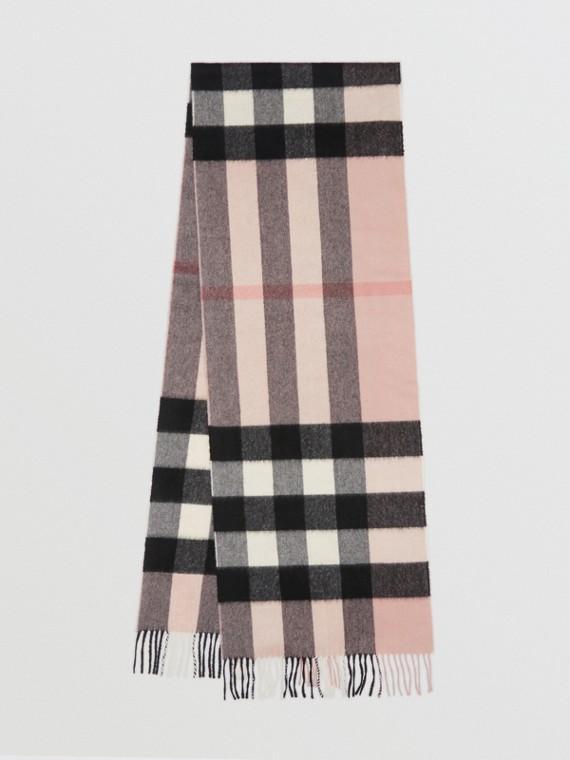 Bufanda clásica grande en cachemir de checks (Rosa Ceniza)