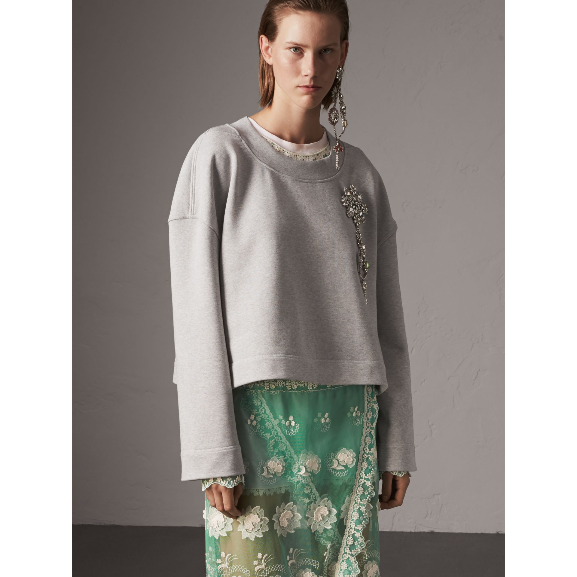 Cropped Sweatshirt with Crystal Brooch in Light Grey Melange - Women | Burberry Singapore - gallery image 4