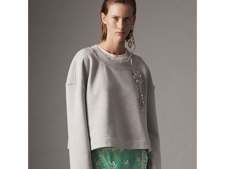 Cropped Sweatshirt with Crystal Brooch in Light Grey Melange - Women | Burberry United States - cell image 4