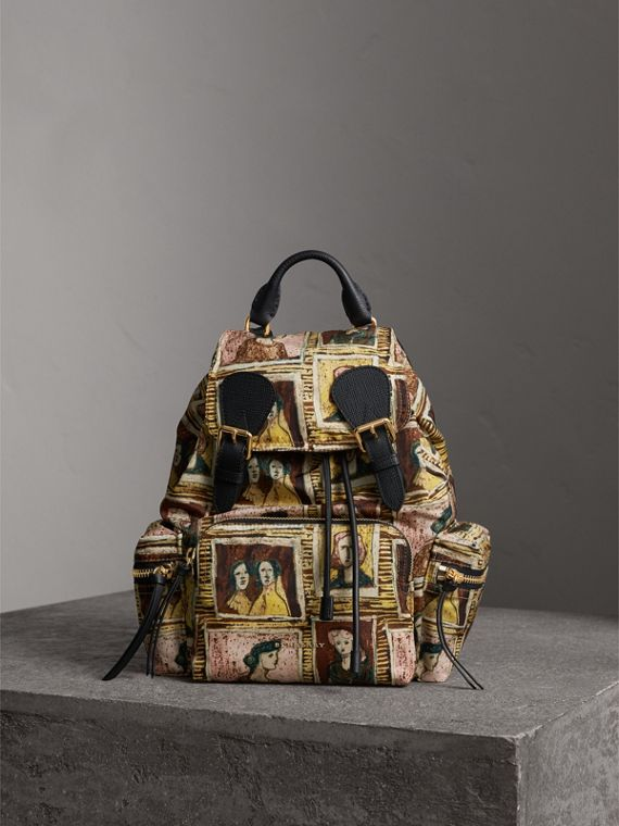 The Medium Rucksack in Framed Heads Print in Umber Brown