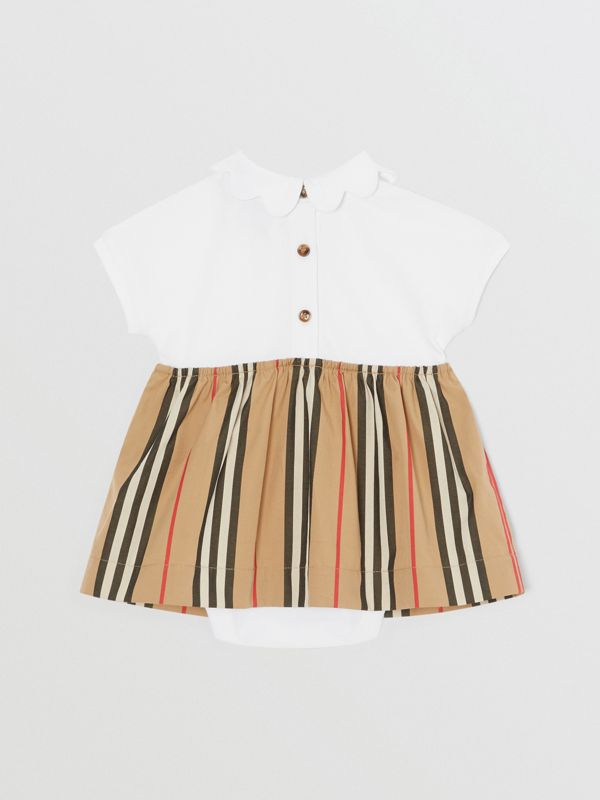 Icon Stripe Skirt Cotton Piqué Bodysuit in White - Children | Burberry United States - cell image 3