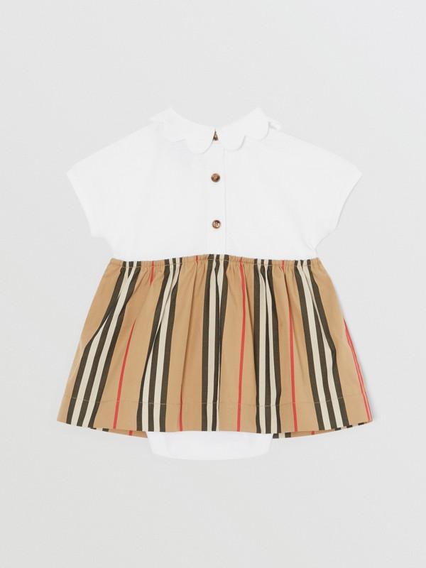 Icon Stripe Skirt Cotton Piqué Bodysuit in White - Children | Burberry United Kingdom - cell image 3