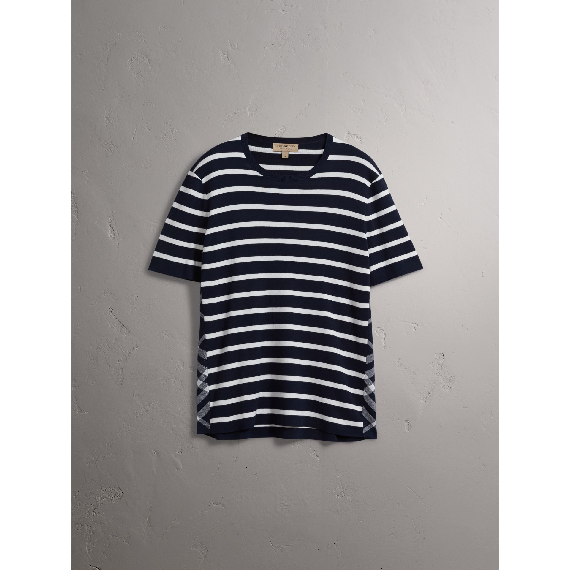 Check Detail Striped Silk Cotton T-shirt in Navy - Men | Burberry - gallery image 3