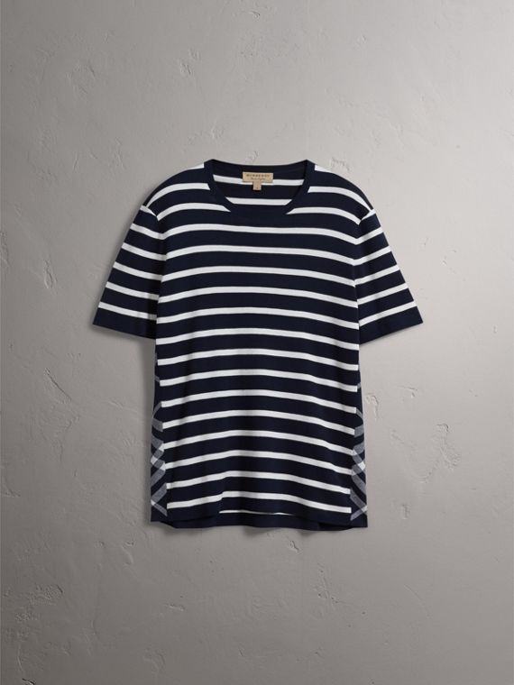Check Detail Striped Silk Cotton T-shirt in Navy - Men | Burberry United States - cell image 2