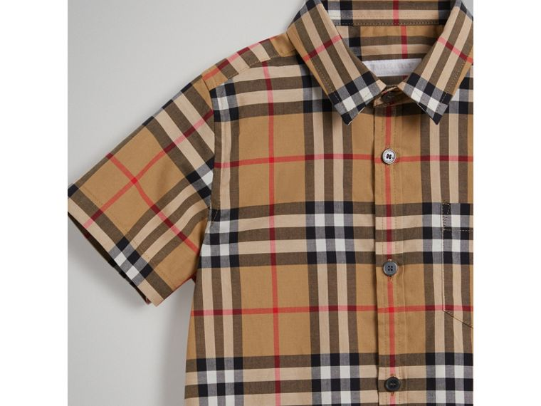 Short-sleeve Vintage Check Cotton Shirt in Antique Yellow - Boy | Burberry - cell image 4