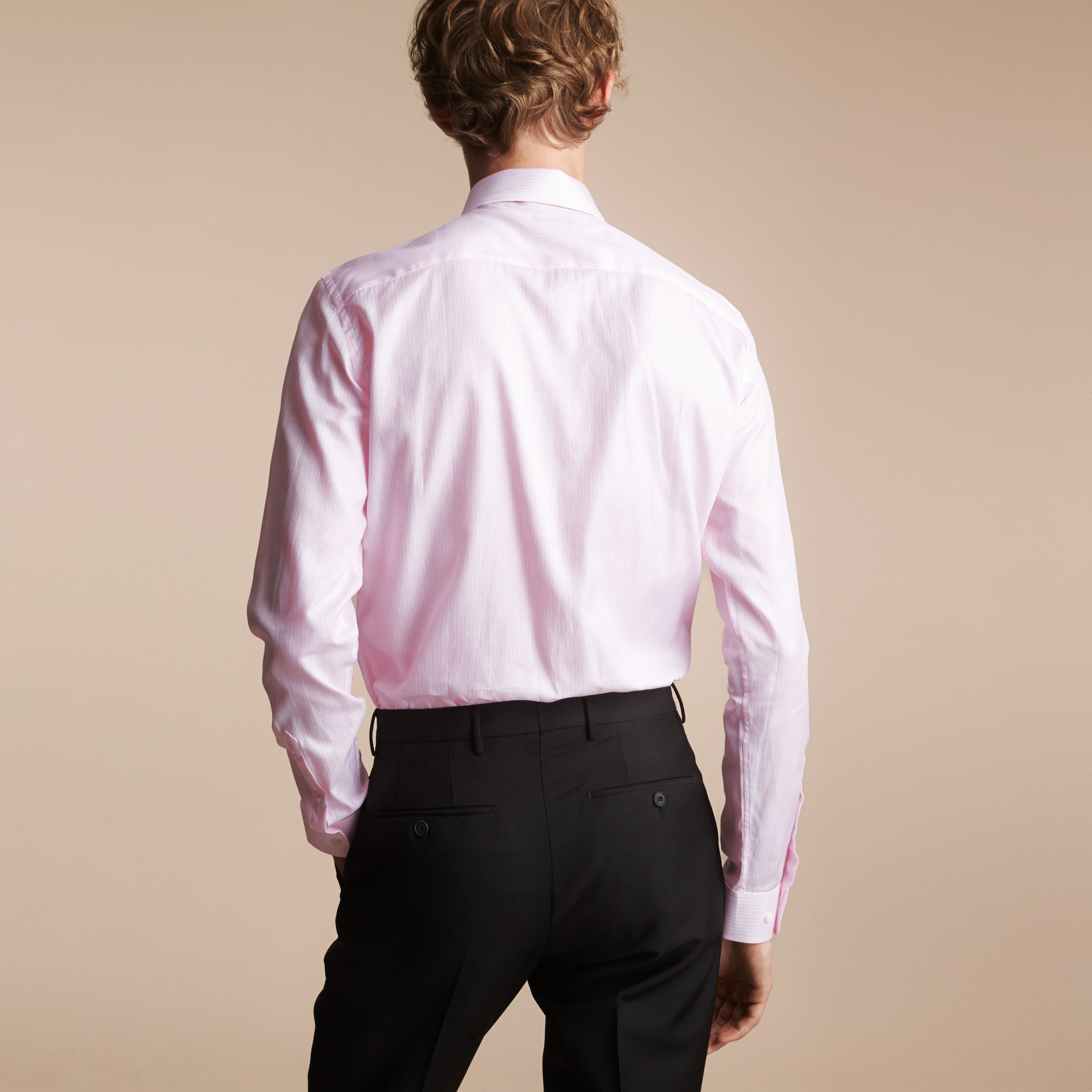 Slim Fit Button-down Collar Striped Cotton Poplin Shirt in City Pink - gallery image 2