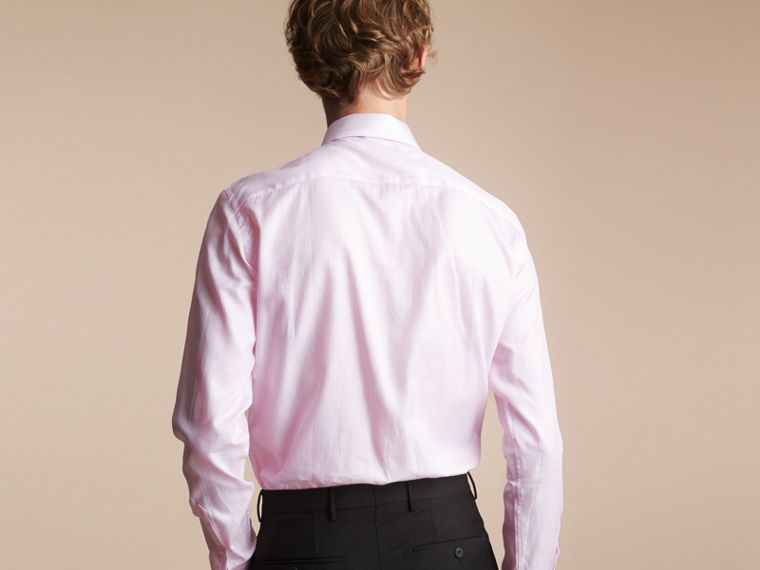 Slim Fit Button-down Collar Striped Cotton Poplin Shirt in City Pink - cell image 1
