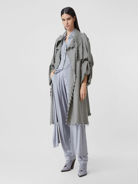 Crystal Ring-pierced Wool Reconstructed Trench Coat in Cloud Grey