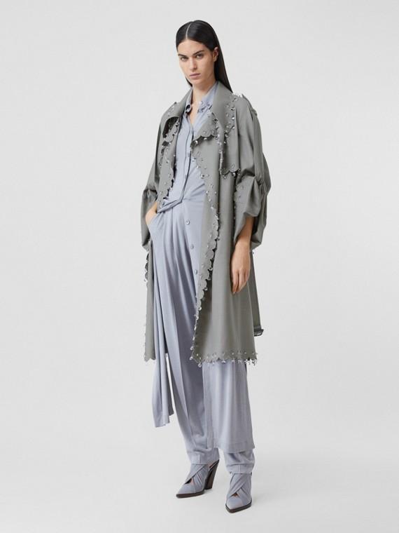 Trench coat ricostruito in lana con piercing e cristalli (Grigio Chiaro)