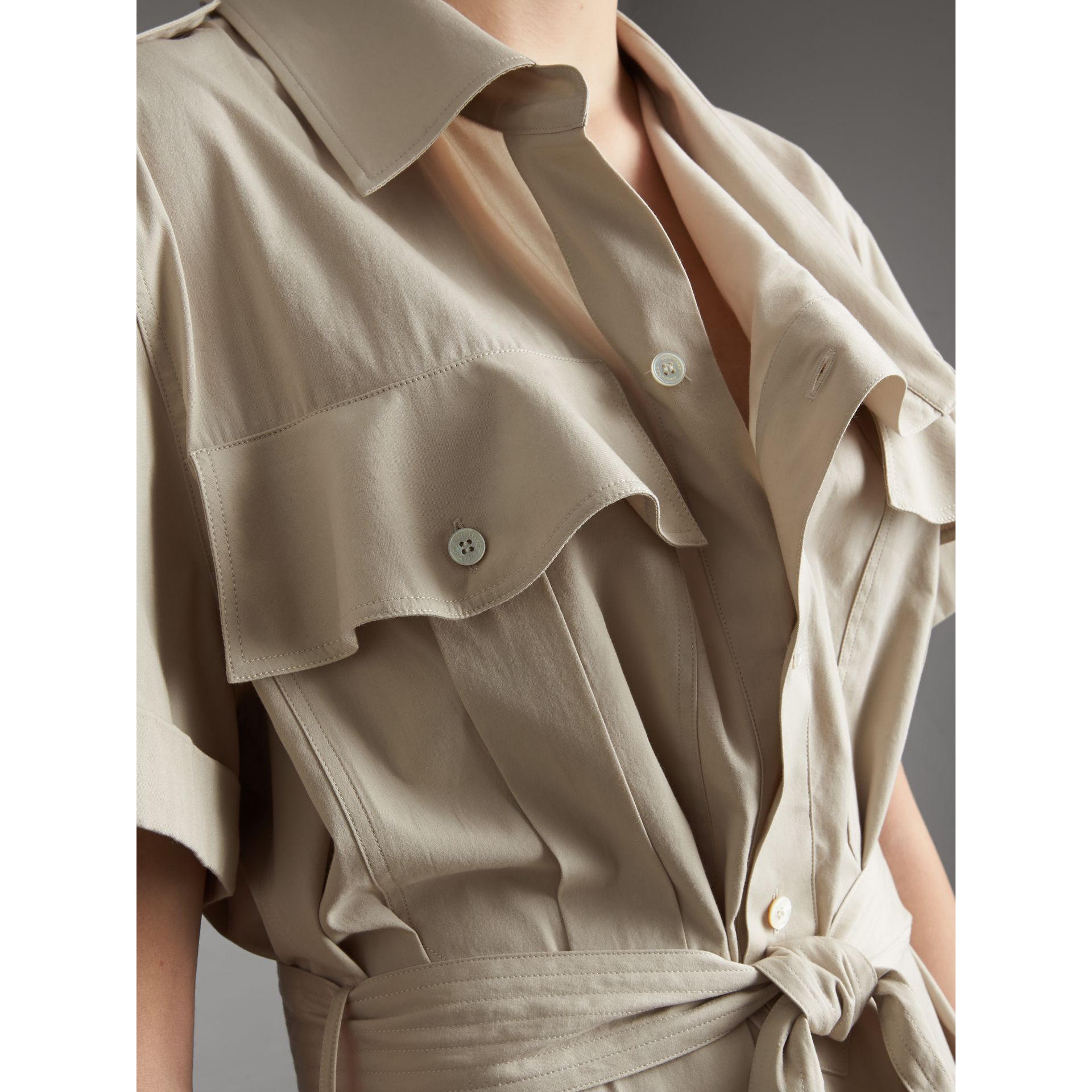 Tie-waist Cotton Shirt Dress in Stone - Women | Burberry Canada - gallery image 5