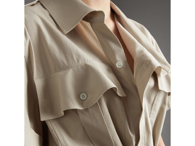 Tie-waist Cotton Shirt Dress in Stone - Women | Burberry Canada - cell image 4