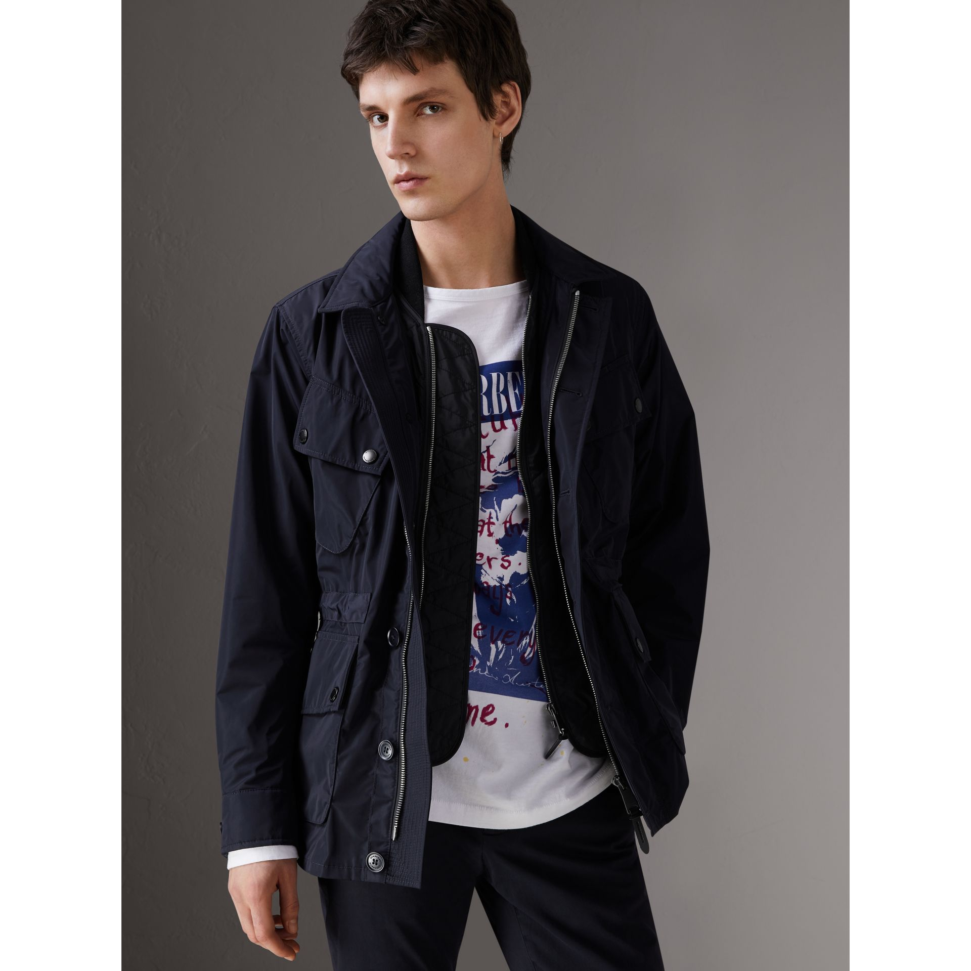Shape-memory Taffeta Field Jacket with Warmer in Navy - Men | Burberry - gallery image 0