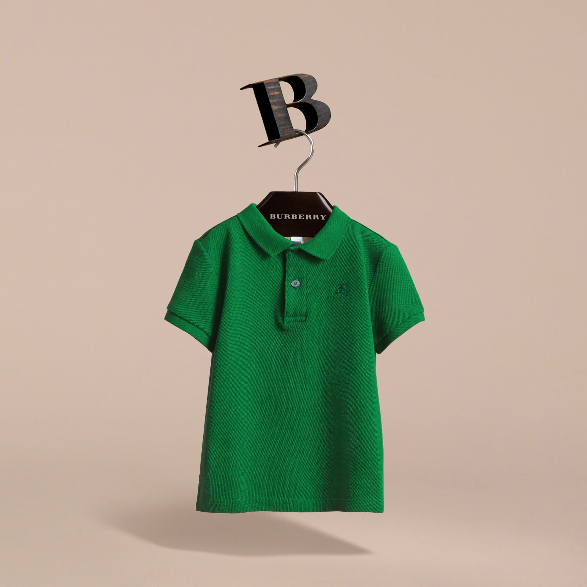 Check Placket Polo Shirt in Pigment Green - Boy | Burberry - gallery image 3