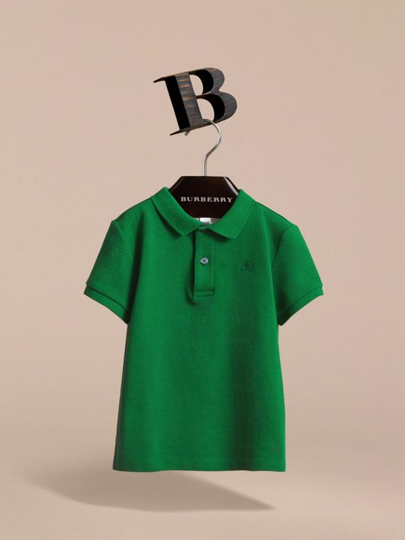 Check Placket Polo Shirt in Pigment Green - Boy | Burberry - cell image 2
