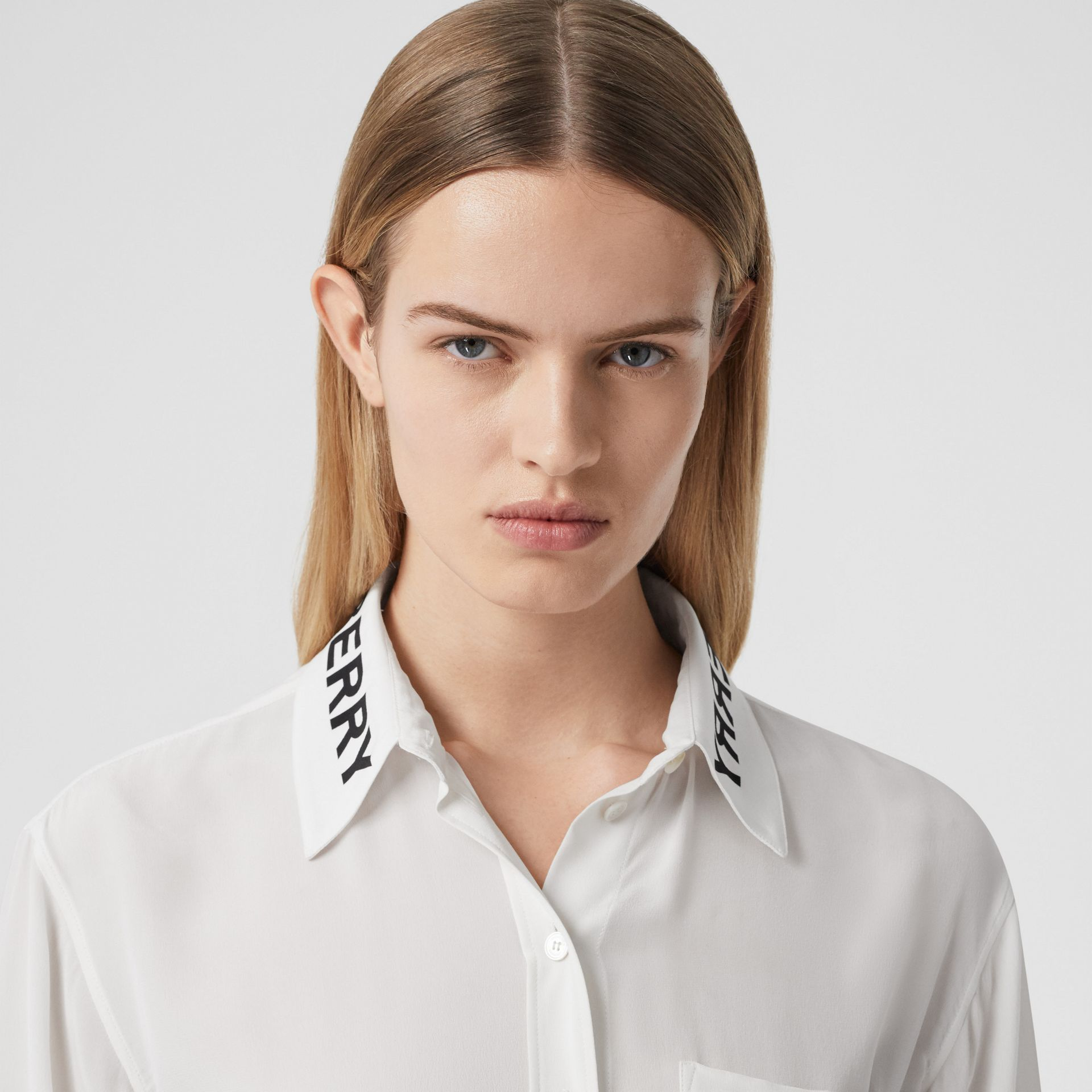 Logo Print Silk Crepe De Chine Shirt in Optic White - Women | Burberry United Kingdom - gallery image 1
