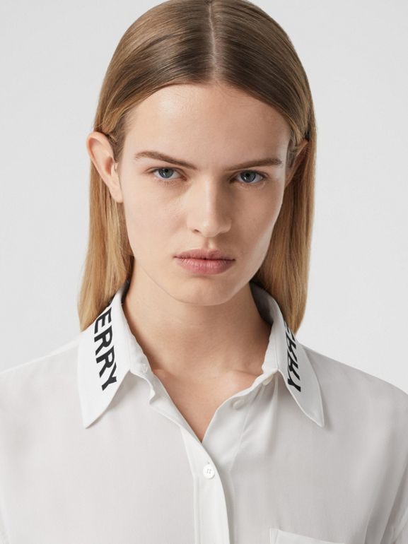 Logo Print Silk Crepe De Chine Shirt in Optic White - Women | Burberry Hong Kong S.A.R - cell image 1