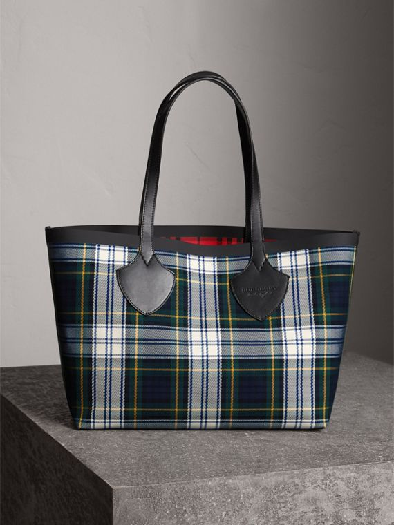 Borsa tote The Giant media double face in cotone con motivo tartan (Blu Inchiostro/rosso Militare)