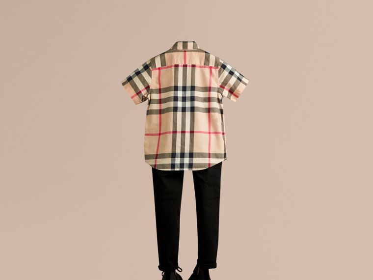 Short-sleeve Check Cotton Twill Shirt in New Classic - cell image 2