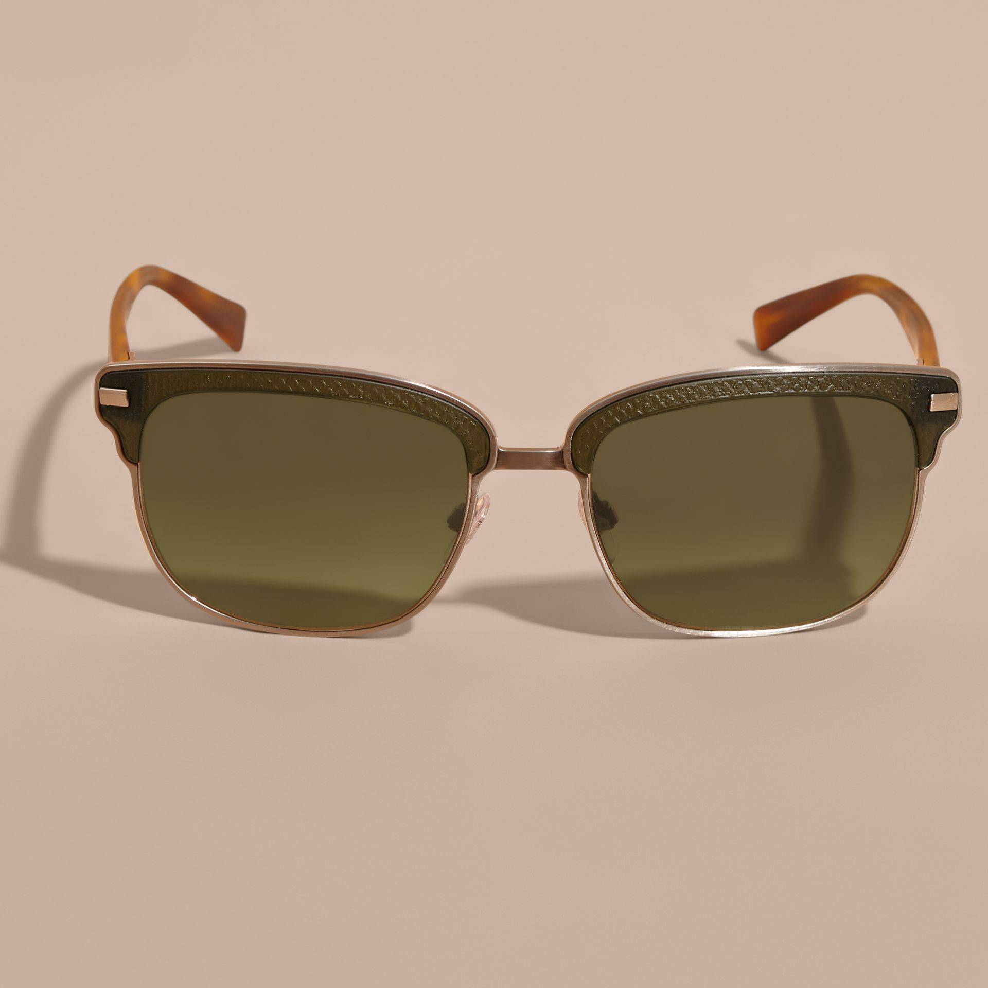 Textured Front Square Frame Sunglasses in Dark Olive - Men | Burberry - gallery image 3