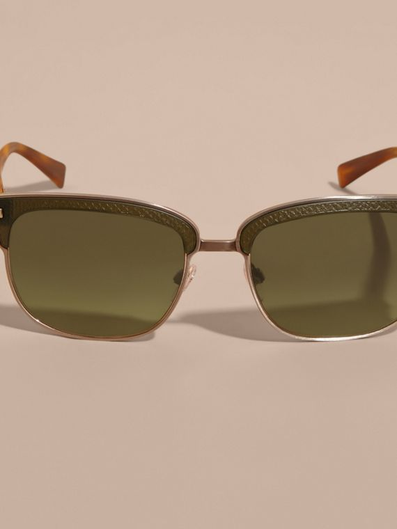 Textured Front Square Frame Sunglasses in Dark Olive - Men | Burberry - cell image 2