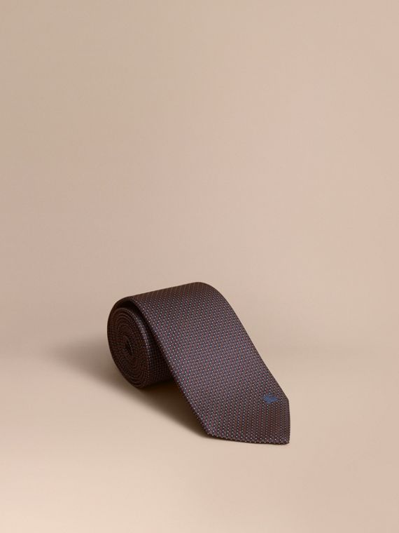 Classic Cut Patterned Silk Tie in Navy - Men | Burberry Singapore