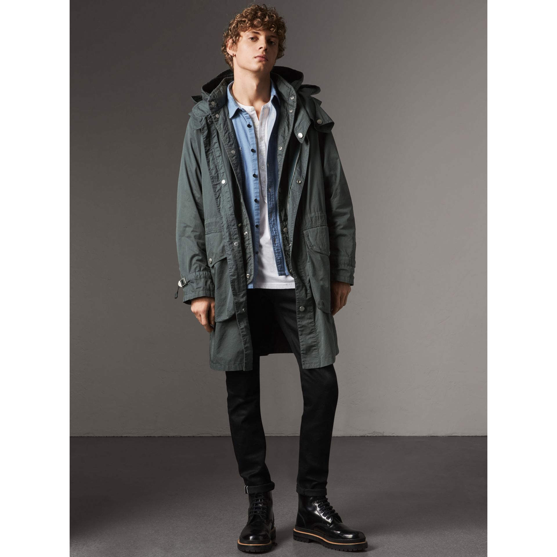 Detachable Hood Cotton Parka with Warmer in Smokey Green - Men | Burberry Hong Kong - gallery image 7
