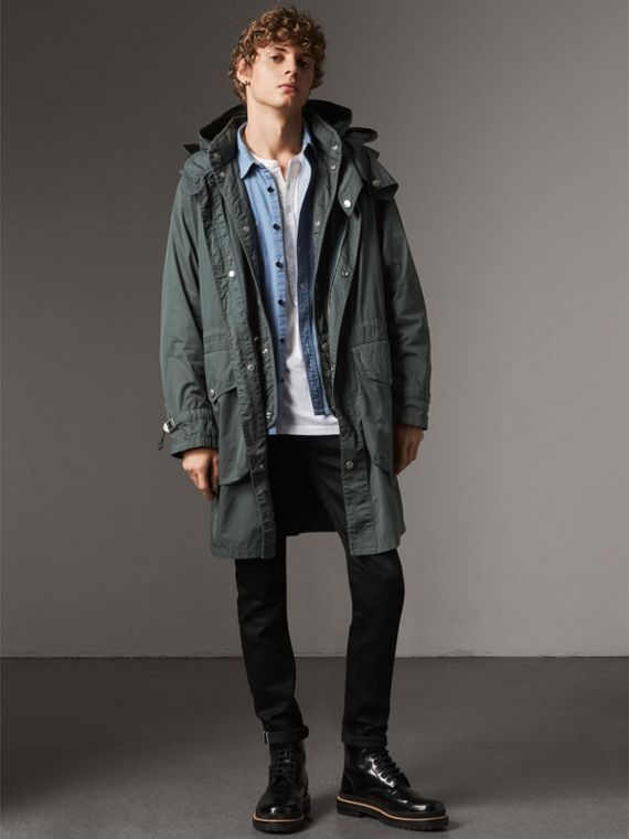 Detachable Hood Cotton Parka with Warmer in Smokey Green