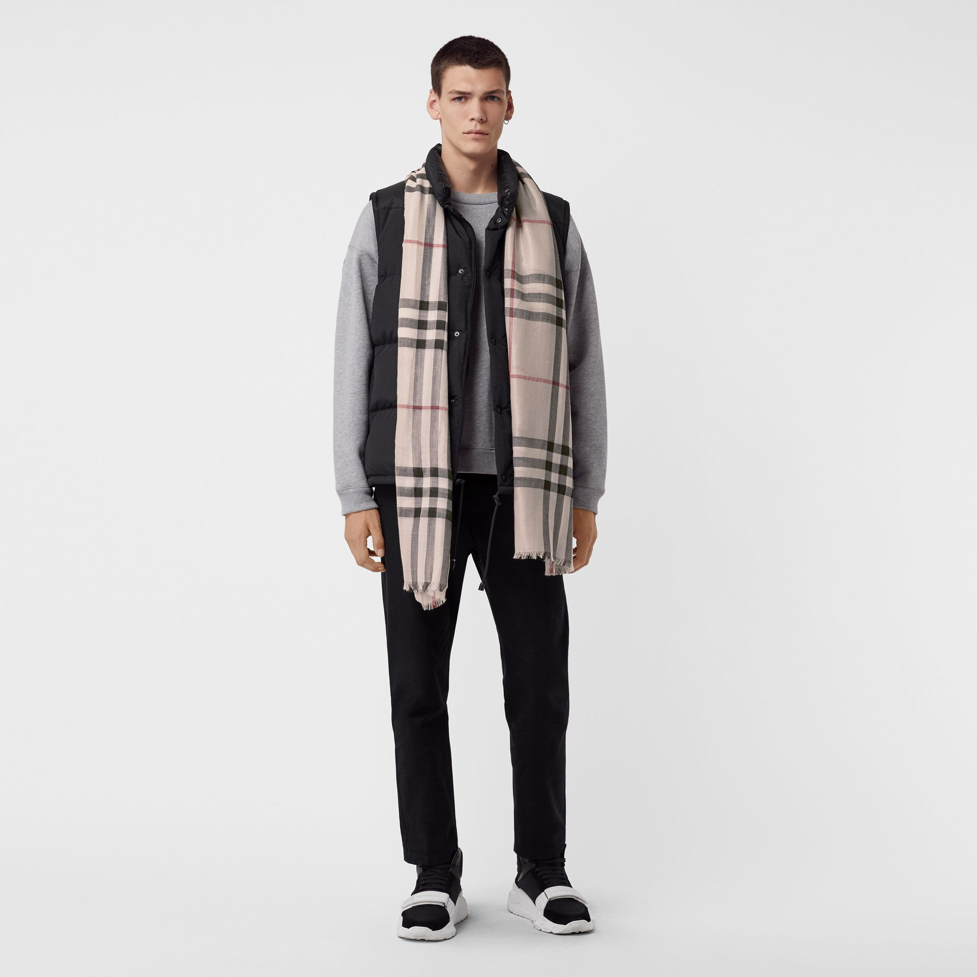 Metallic Check Silk and Wool Scarf in Stone/ Silver | Burberry United Kingdom - gallery image 3