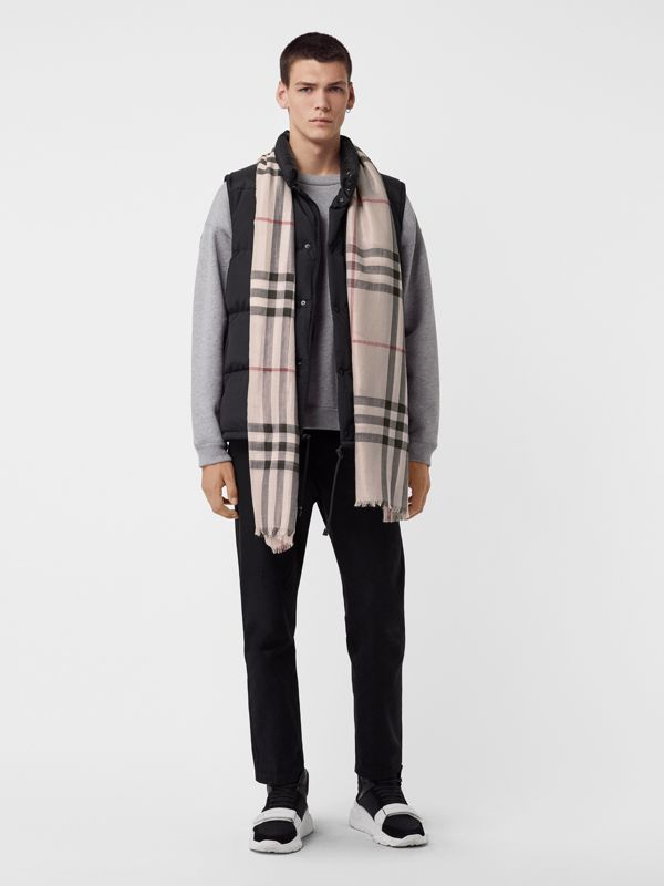Metallic Check Silk and Wool Scarf in Stone/ Silver | Burberry United Kingdom - cell image 3