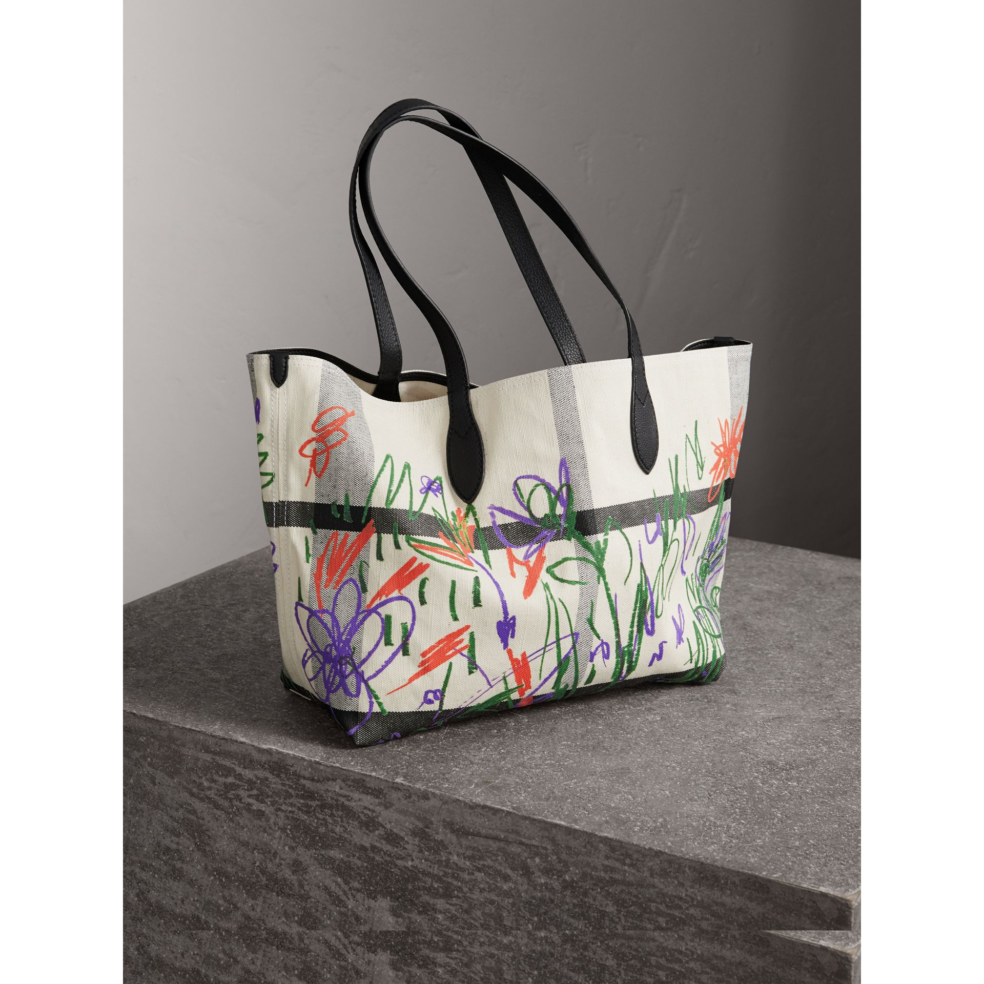 The Medium Reversible Doodle Tote in White/black - Women | Burberry - gallery image 4