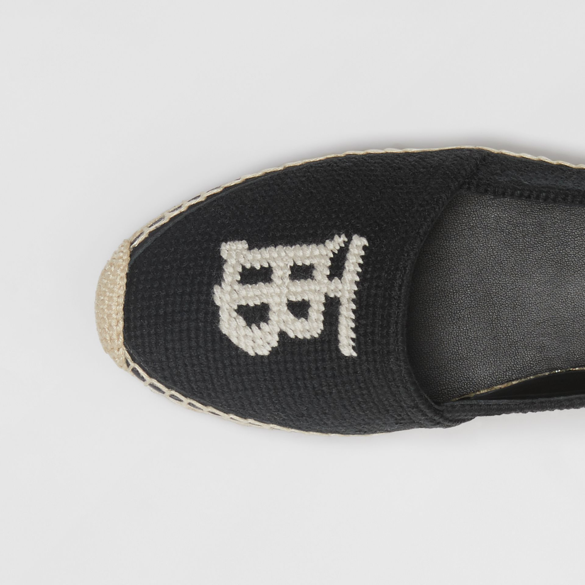 Monogram Motif Cotton and Leather Espadrilles in Black/ecru - Women | Burberry Australia - gallery image 1