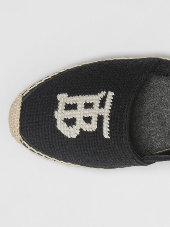 Monogram Motif Cotton and Leather Espadrilles in Black/ecru - Women | Burberry - cell image 1